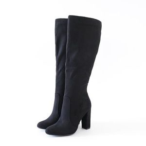 7.5 suga black vegan suede knee high boots